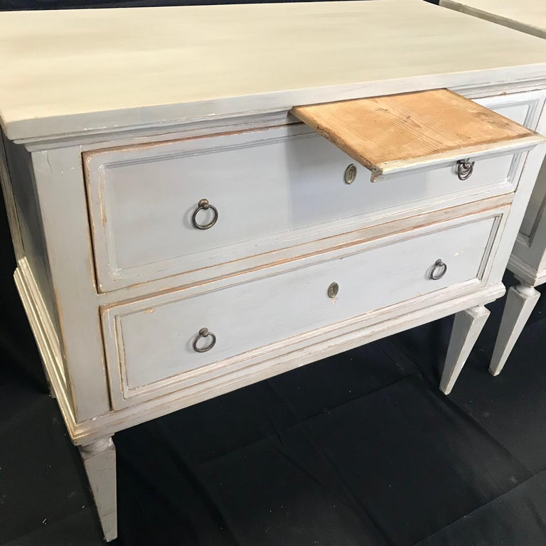 Pair 19th Century Swedish Gustavian Painted Wood Chests on Tapered Legs For Sale 5