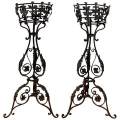 Pair 19th Century Wrought Iron Jardinières, Plant Stands