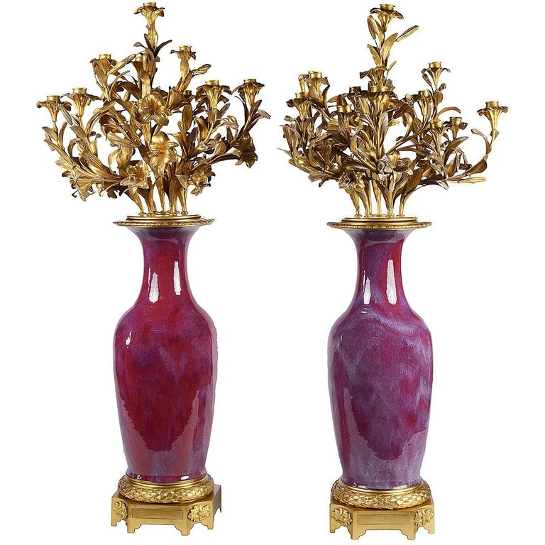Pair of 19th Ormolu Mounted Sang De Boeuf Candelabra For Sale