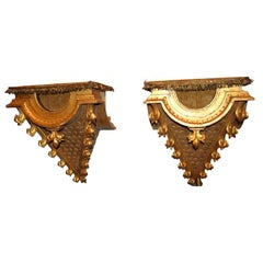 Pair 19thc. Carved and Gilded Wooden Consoles