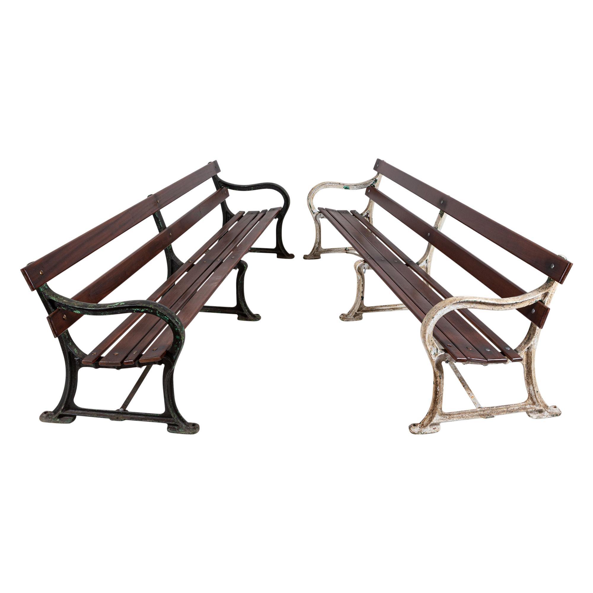 Pair 19thC English Cast Iron Benches