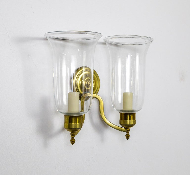 Neoclassical Pair of 2-Arm Brass Hurricane Sconces with Spiral Back Plate For Sale