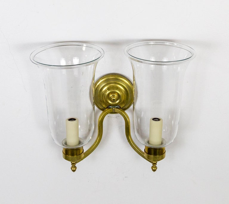 Pair of 2-Arm Brass Hurricane Sconces with Spiral Back Plate For Sale 2