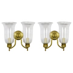 Pair of 2-Arm Brass Hurricane Sconces with Spiral Back Plate