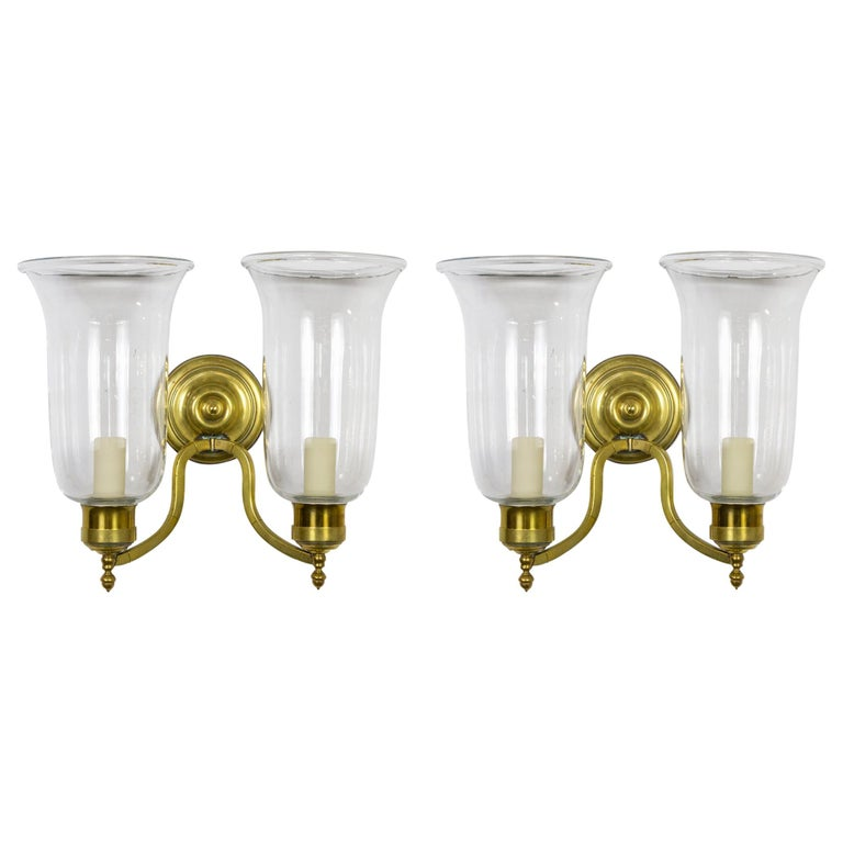 Pair of 2-Arm Brass Hurricane Sconces with Spiral Back Plate For Sale