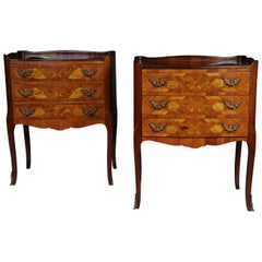 Pair of '2' Chests of Drawers Louis XV 20th Century, Marquetry