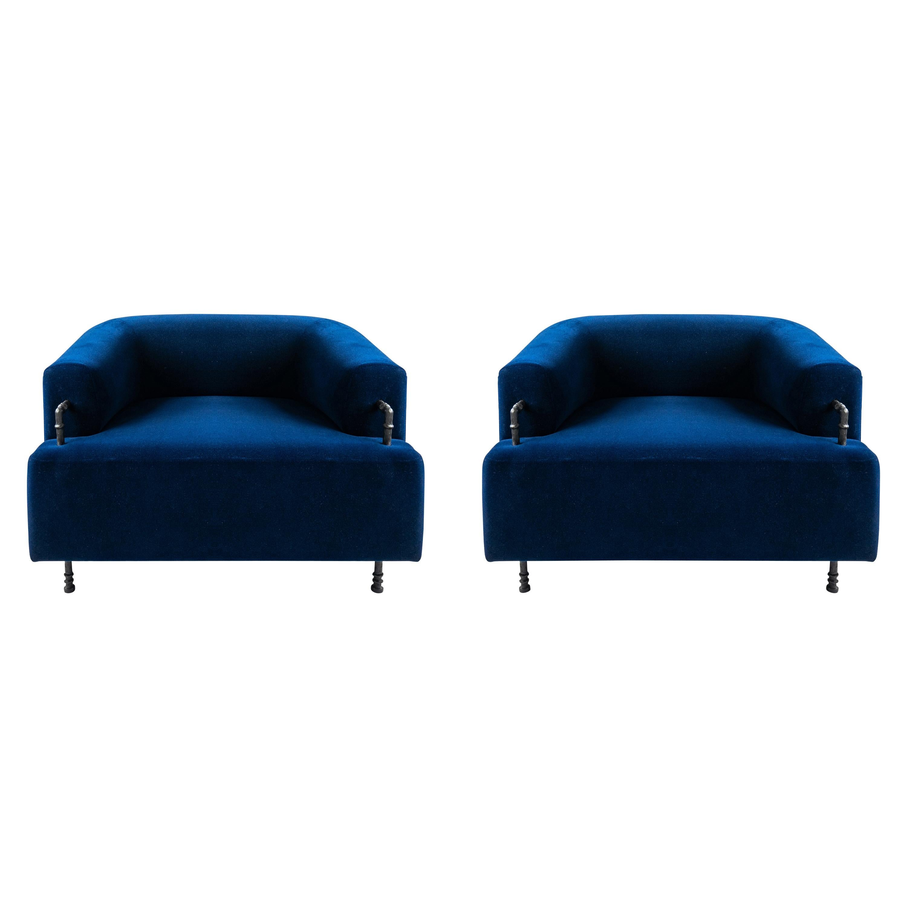 Pair of Contemporary Round Armchairs with Hand Carved Steel/Plaster Elements