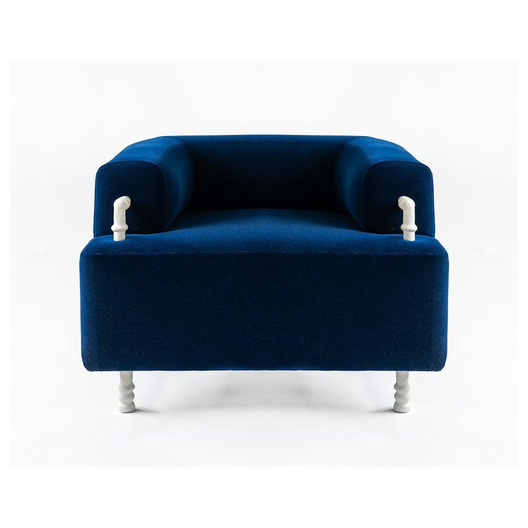 Modern Pair of Armchairs Contemporary Round with Hand Carved Steel/Plaster Elements For Sale