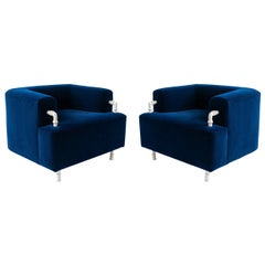 Pair '2' of Contemporary Round Armchair with Hand Carved Steel/Plaster Elements