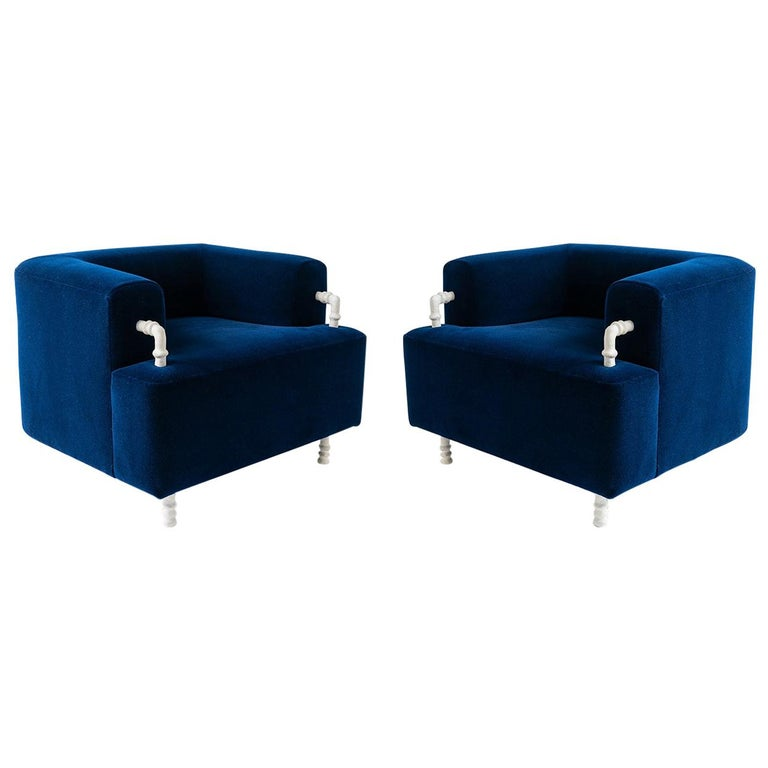 Pair of Armchairs Contemporary Round with Hand Carved Steel/Plaster Elements For Sale
