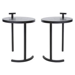 Pair '2' of Modern Side Tables Handmade in Cast Blackened and Waxed Steel