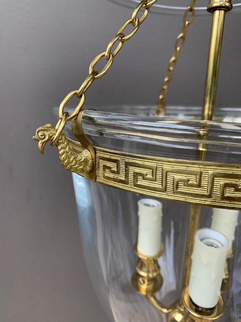 Pair of 20th century bell jar three-light lanterns with Greek key banding