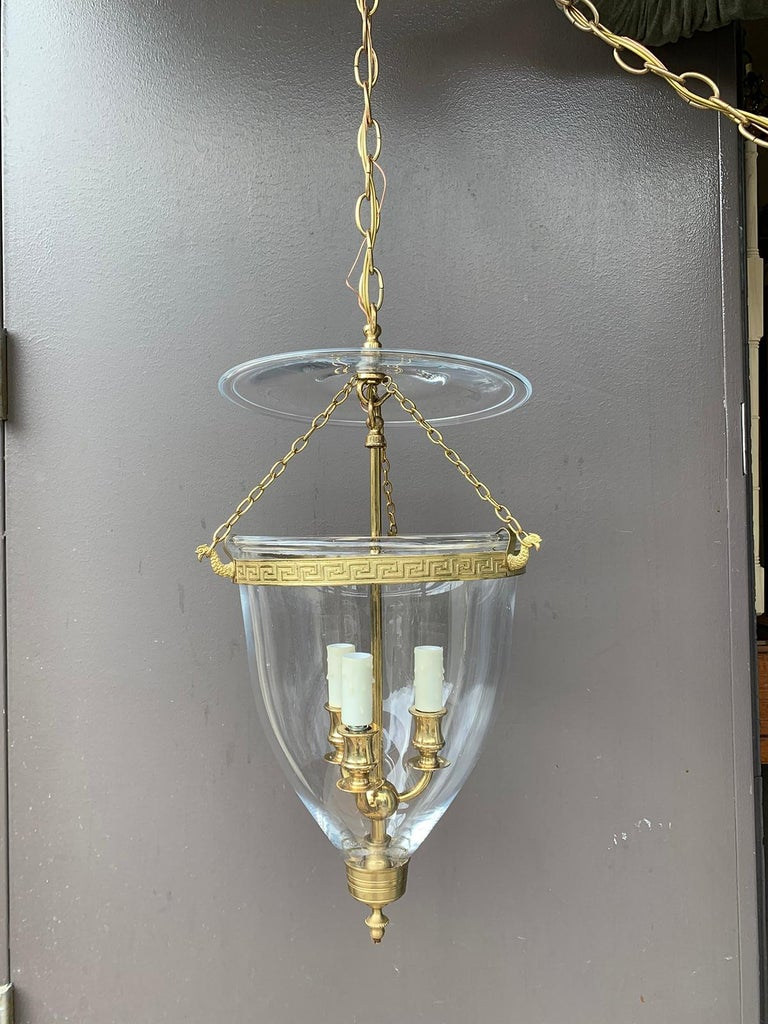 Pair of 20th Century Bell Jar Three-Light Lanterns with Greek Key Banding In Good Condition For Sale In Atlanta, GA