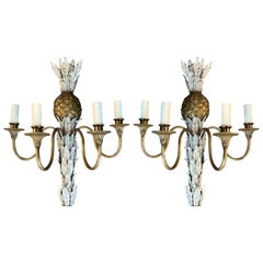 Pair of 20th Century Gilt Bronze and Painted Tole Four-Arm Pineapple Sconces