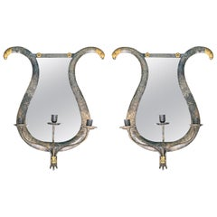 Pair 20th Century Neoclassical Gilt/Polychrome Tole Lyre Form Mirrored Sconces