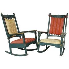 20th Century Swedish Dalarna Folk Art Painted Scandinavian Rocking Chairs, Pair