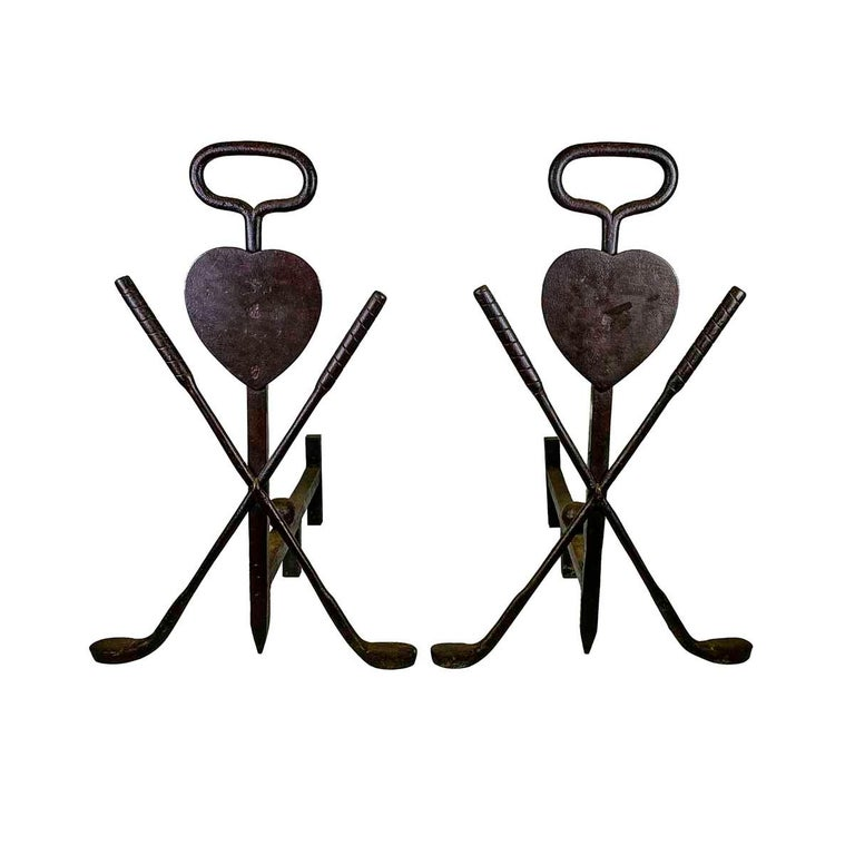 American Pair of 20th Century Wrought Iron Folk Art Golf Andirons For Sale