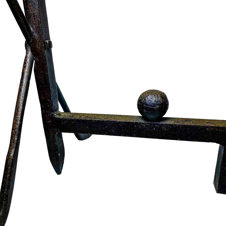Pair of 20th Century Wrought Iron Folk Art Golf Andirons In Good Condition For Sale In Nantucket, MA