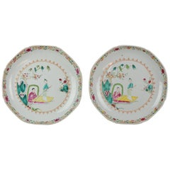 Pair of Antique Chinese 18th Century Qianlong Famille Rose Plate Lady on Boat