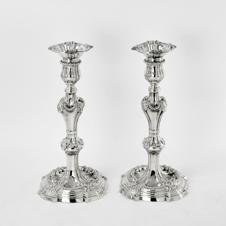 English Pair of 3-Light George III Cast Silver Candelabras For Sale