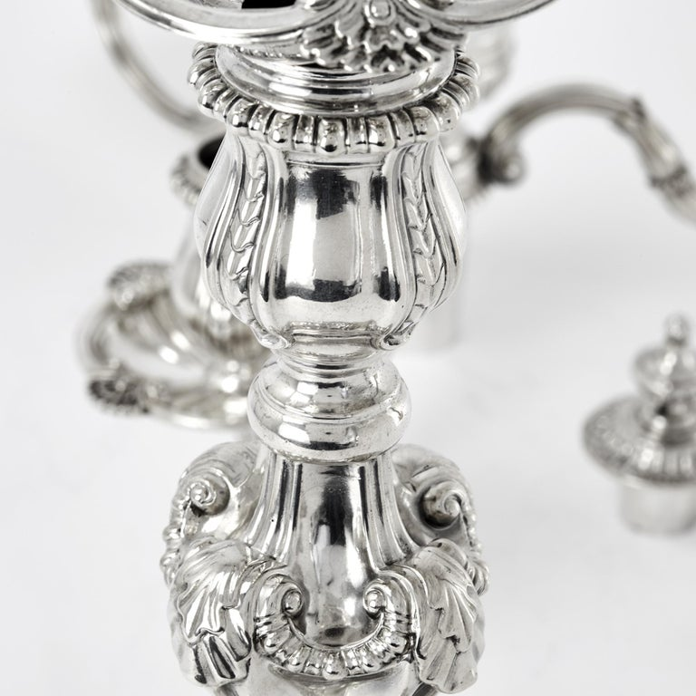 Pair of 3-Light George III Cast Silver Candelabras For Sale 1