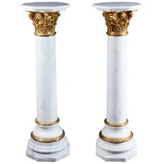 Pair of White Marble and Ormolu Mounted Pedestals, 20th Century