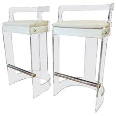 Pair of 1970s Modern Lucite Bar Stools by Hill Mfg