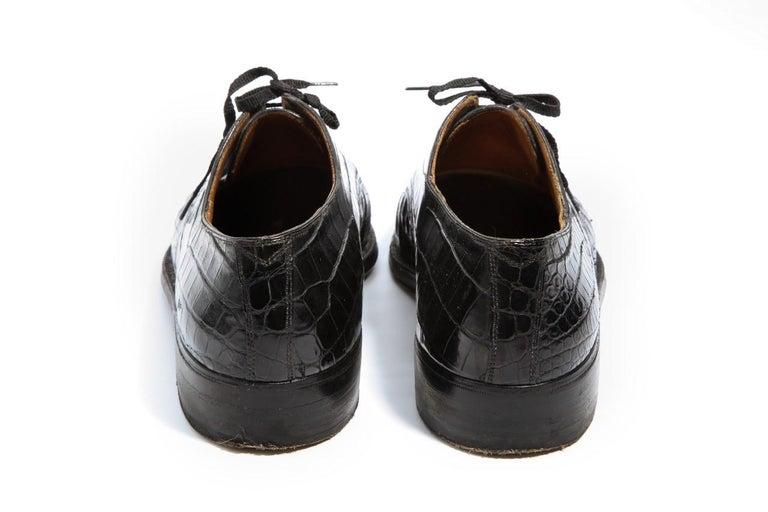 Pair Superb Royal Maker A. Gillet Paris Gentleman's 1920s  Black Crocodile Shoes For Sale 6