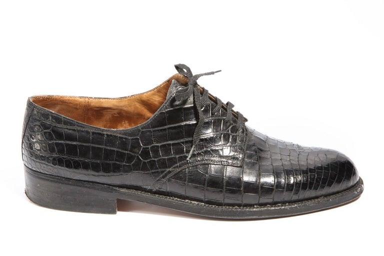 Pair Superb Royal Maker A. Gillet Paris Gentleman's 1920s  Black Crocodile Shoes For Sale 1