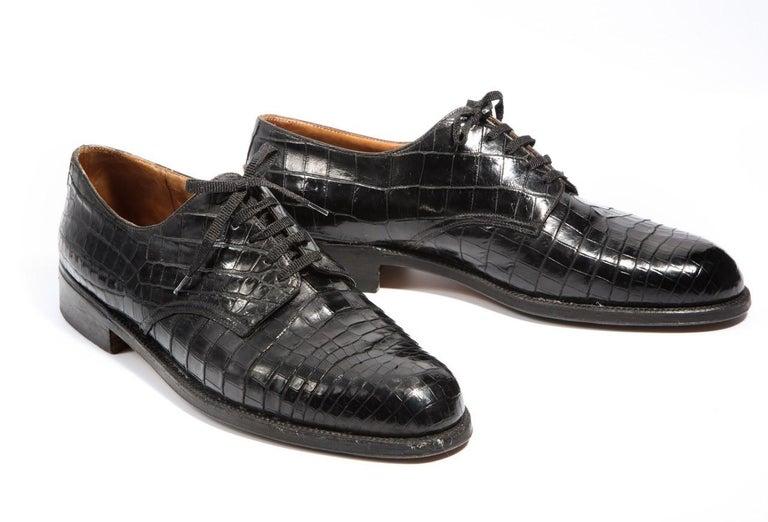 Pair Superb Royal Maker A. Gillet Paris Gentleman's 1920s  Black Crocodile Shoes For Sale 2