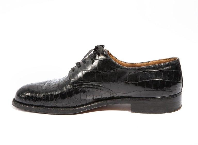 Pair Superb Royal Maker A. Gillet Paris Gentleman's 1920s  Black Crocodile Shoes For Sale 3