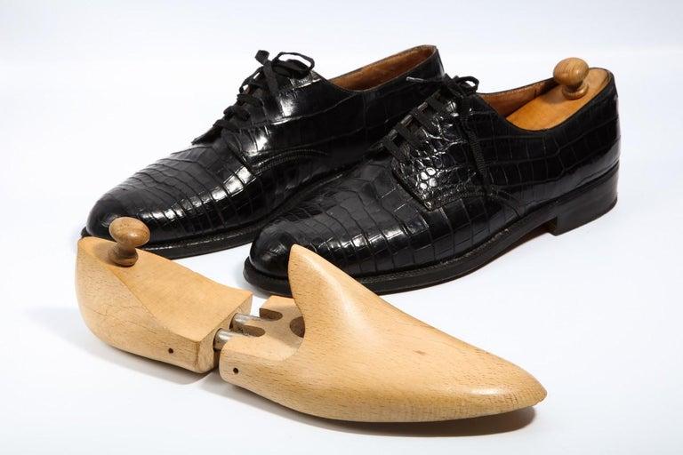 Pair Superb Royal Maker A. Gillet Paris Gentleman's 1920s  Black Crocodile Shoes For Sale 4
