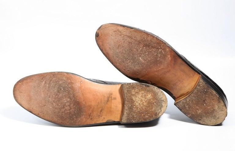 Pair Superb Royal Maker A. Gillet Paris Gentleman's 1920s  Black Crocodile Shoes For Sale 5