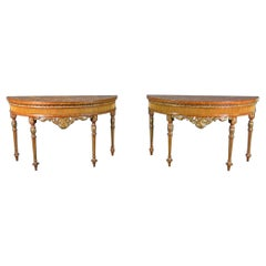 Pair Adams Style Inlaid Carved Walnut Maitland Smith Demilune Console Tables