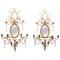 Pair of Adams Style Gilt Mirrors with Sconces