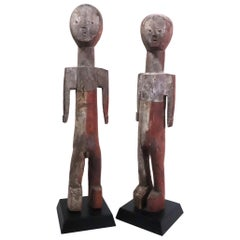 Pair of Adan Figures Togo Ghana Minimal Cubist Expressionist African Tribal Art