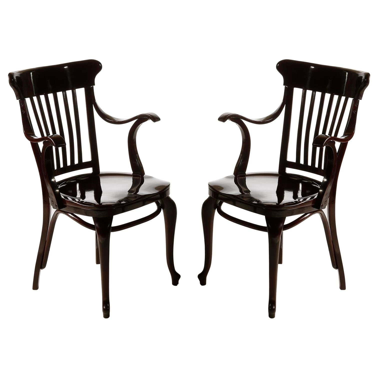 Pair of Adolf Loos Armchairs Chairs Cafe Capua Vienna, Thonet, 1913