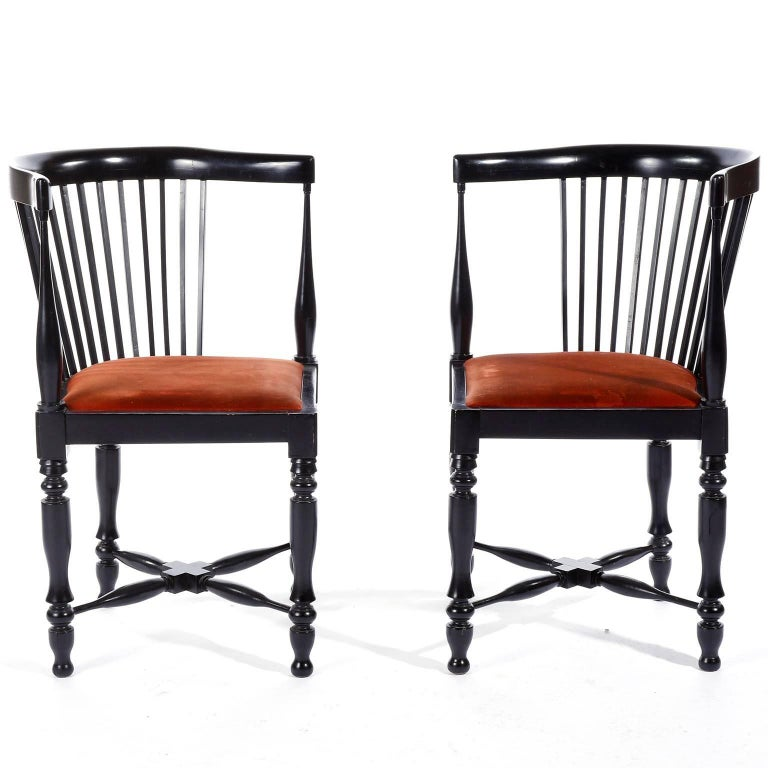A pair of extremely rare armchairs designed by Adolf Loos (1870-1933) and manufactured by Friedrich Otto Schmidt, Vienna, Austria, circa 1900.