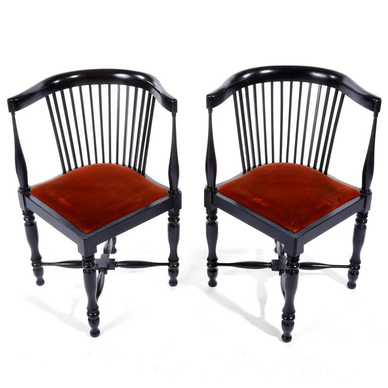 Austrian Adolf Loos Corner Chairs, F.O. Schmidt, Velvet Wood, Jugendstil, 1898-1900, Pair For Sale
