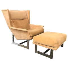 Pair of Adrian Pearsall Lounge Chairs / Ottomans, over Scale Dramatic Forms