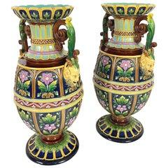 Pair of Aesthetic Movement Majolica Vases Signed Wilhelm Schiller, Bohemia