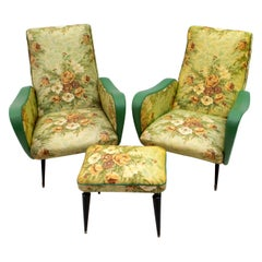 "Pair of After Marco Zanuso Midcentury Italian Armchairs ""Lady"" for Arflex, 1950s"