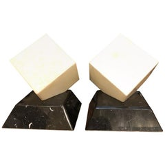 Pair of Alabaster Cube Lamps