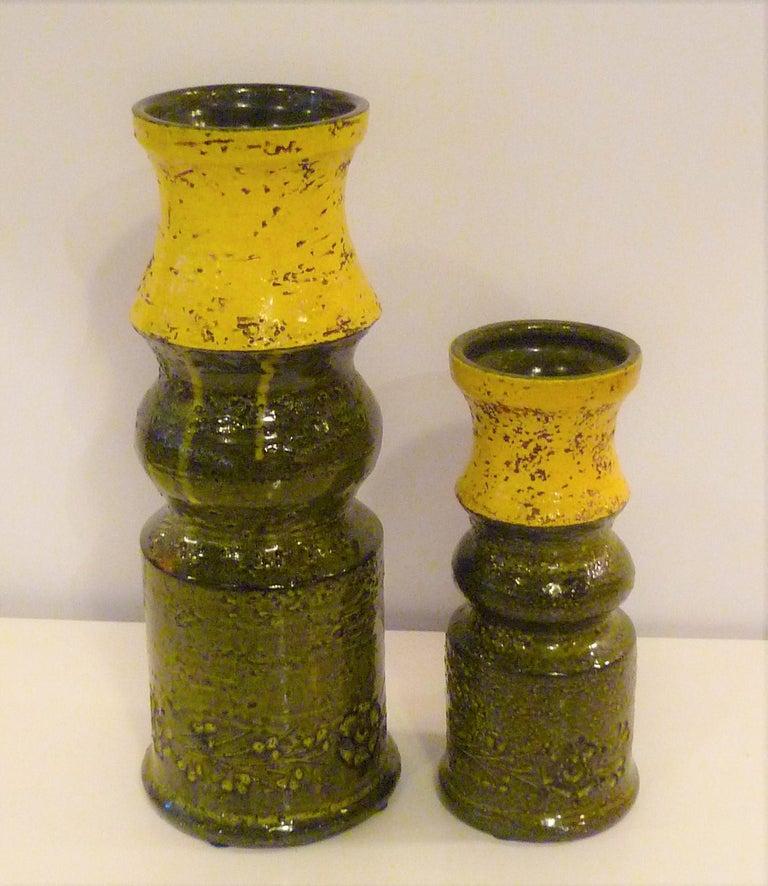 Mid-Century Modern Pair of Aldo Londi for Bitossi Modern Pottery Vases Rosenthal Netter Italy 1960s