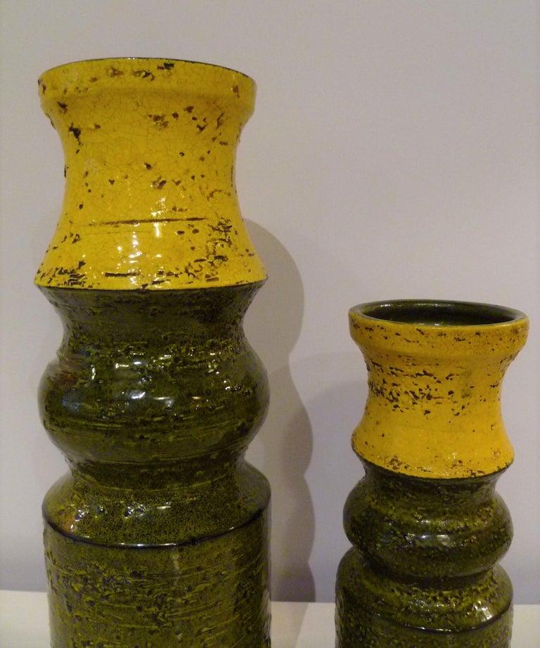 Italian Pair of Aldo Londi for Bitossi Modern Pottery Vases Rosenthal Netter Italy 1960s