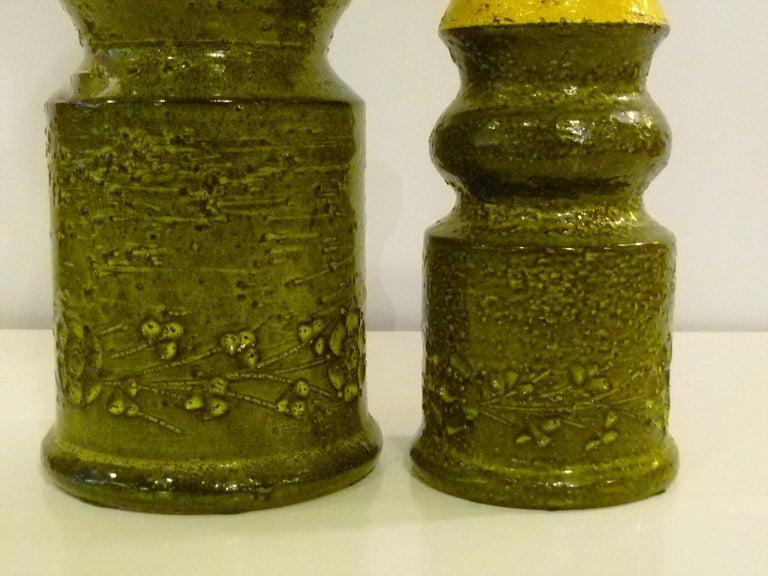 Mid-20th Century Pair of Aldo Londi for Bitossi Modern Pottery Vases Rosenthal Netter Italy 1960s