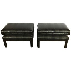 Alligator or Crocodile Faux Black Leather Cushioned Foot Stools or Benches, Pair