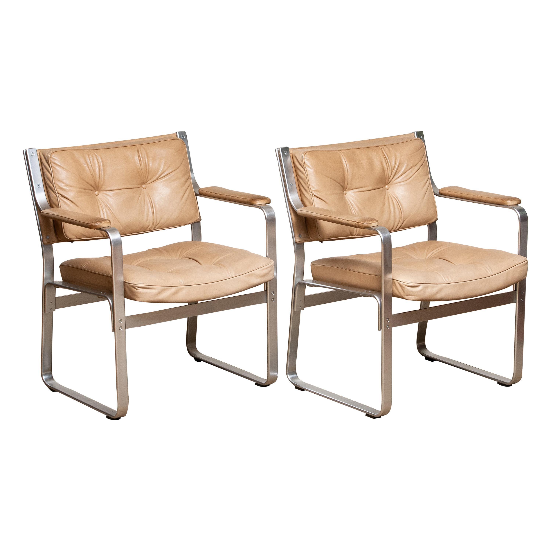 Pair Aluminum 'Mondo' Armchairs in Beige Taupe Leather by Karl Erik Ekselius JOC