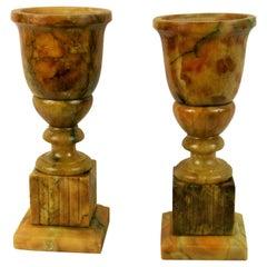 Pair of Amber Alabaster Urn Lamps, circa 1940s