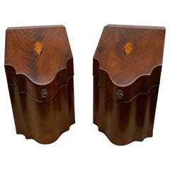 Pair American Mahogany Serpentine Inlaid Knife Boxes with Cutlery Interiors